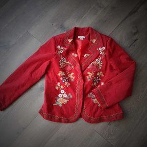 Maroon Corduroy Jacket Floral Embroidery Boho M